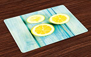 Ambesonne Yellow and Blue Place Mats Set of 4, Juicy Lemon Slices on Old Wooden Planks Porch Summer Refreshing Image, Washable Fabric Placemats for Dining Room Kitchen Table Decor, Sky Blue