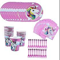 Amycute 80 pcs 20 niños Vajilla Diseño Unicornio Desechable, Vasos, Platos, Servilletas, Cubiertos Vajilla de cumpleaños Infantil Fiesta de Unicornio ...