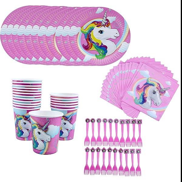 Amycute 80 pcs 20 niños Vajilla Diseño Unicornio Desechable ...