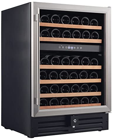 Smith Hanks RW145DR 46 Bottle Dual Zone Under Counter Wine Refrigerator, 24 Inch Width, Built-In or Free Standing