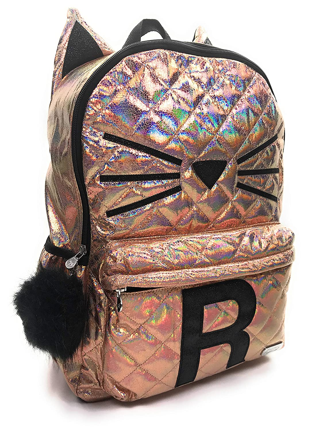 M Justice Girls Backpack Quilted Cat Initial Backpack Bag Rucksack Back to School