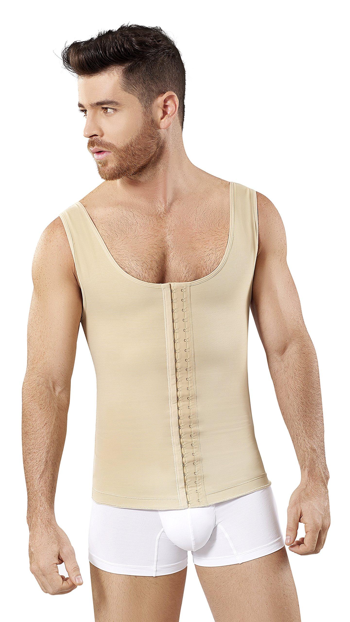 Fajas Colombianas Para Hombres Mens Girdle High Compression Garmen Shapewear Bodysuit Faja Body Shaper for Men SCH0062 (Beige, Large)