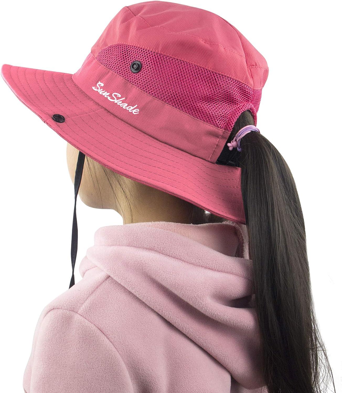 Muryobao Kids Girls Ponytail Summer Sun Hat Wide Brim UV...