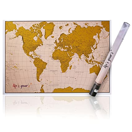 New Premium Scratch-off World Map - Personalized Scratchable Travel Poster With Modern Design Tube & Scratch Pen - Great Decoration, Unique Gift for Travelers and Children
