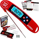 Kizen Digital Meat & Cooking Thermometer - Instant Read, Talking, Back Light, Collapsible Probe, Auto-off. Comes in Premium Gift Box, with eCookbook. For Food, Kitchen, BBQ, Grill! (Red)