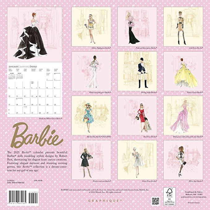 Barbie Calendar 2021 Amazon.: Graphique Classic Barbie Wall Calendar   16 Month