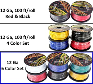 12 Gauge Primary Wire Assortment. Choice of 2, 4 or 6 Rolls Pack ...
