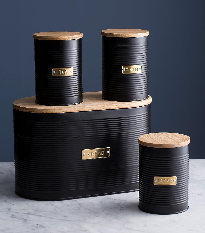 Acero Negro 11/x 11/x 15,5/cm Typhoon Living caf/é Recipiente de Almacenamiento con Tapa de bamb/ú