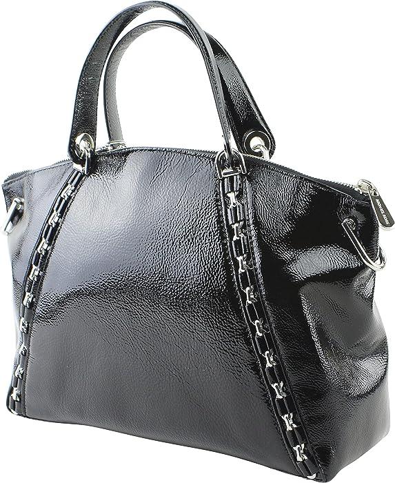 47fa9cfc1cf1 Amazon.com  Michael Kors Sadie Large Top Zip Satchel Black Patent ...