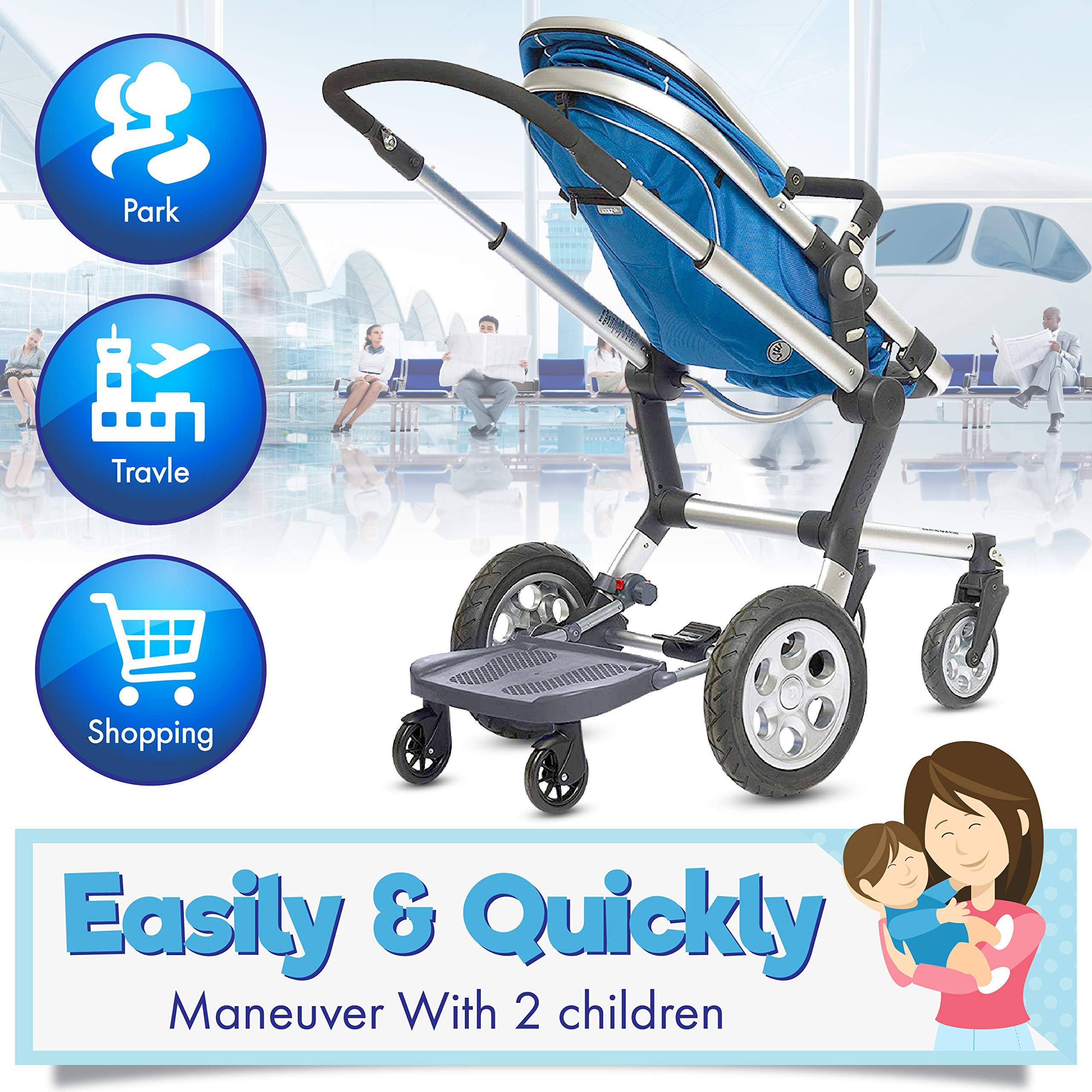 Ride Along - Universal Mount Ride-On Stroller Board Toddler Bump-Free Anti-Slip Buggy Stand by EZ step (Image #3)