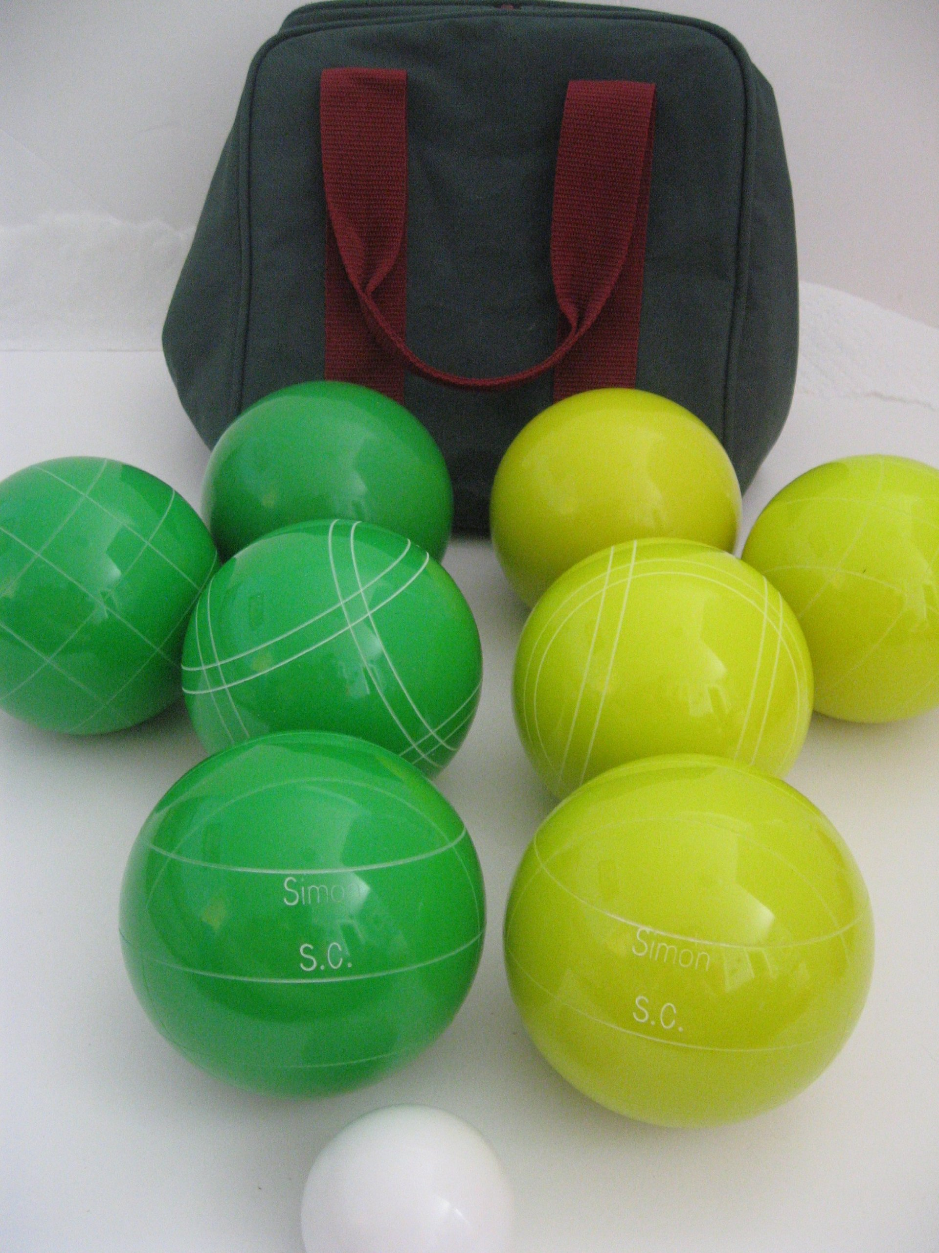Premium Quality Engraved Bocce Package - 110mm Epco Yellow and Green Balls with Engraving
