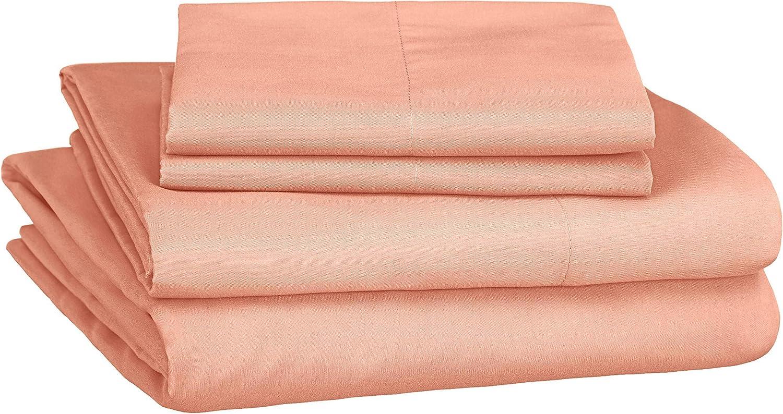 Amazon Basics Soft Microfiber Sheet Set with Elastic Pockets - Queen, Bright Salmon