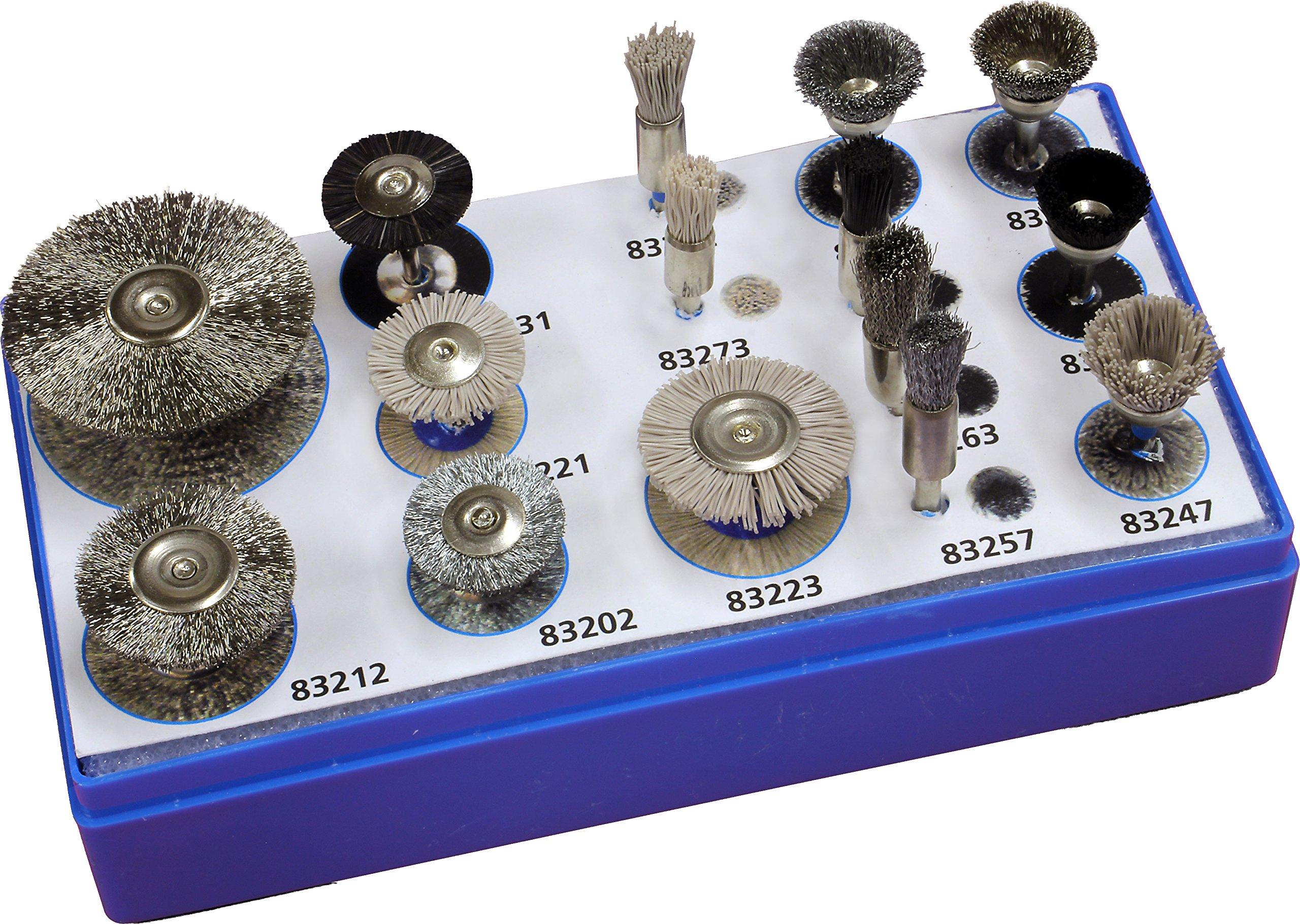 PFERD 82955 15 Pieces Stem Mounted Miniature Brush Set