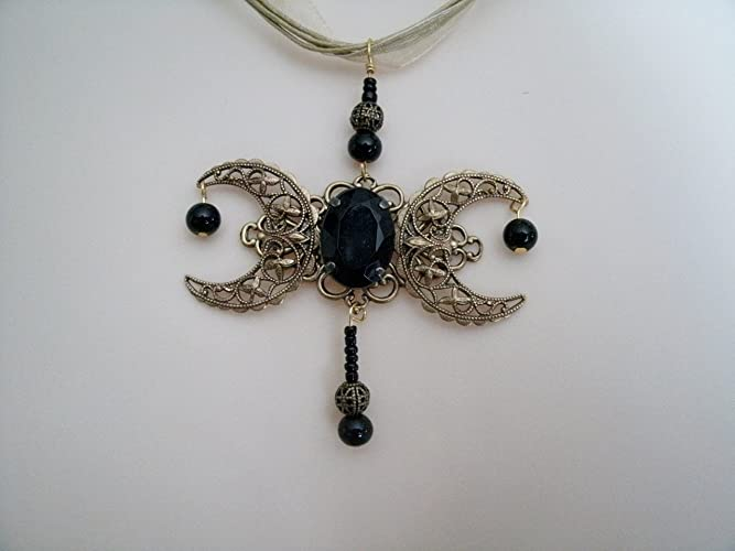 Amazon Triple Moon Necklace Handmade Jewelry Wiccan Pagan
