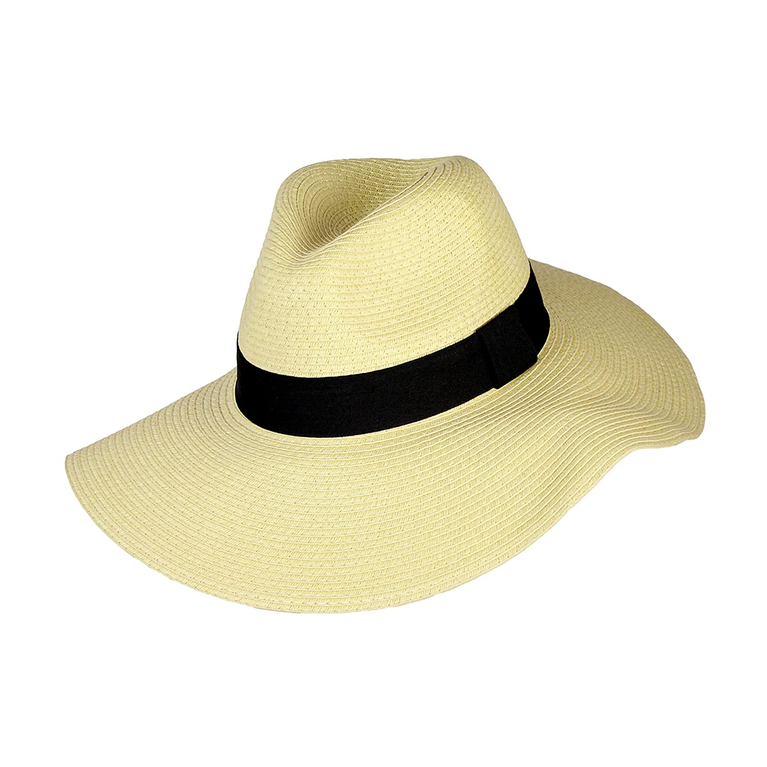 UPF 50+ Summer Large Brim Straw Panama Sun Hat for Women- Adjustable Boho  Fedora with Band (Sand) at Amazon Women s Clothing store  1dac408b6b1