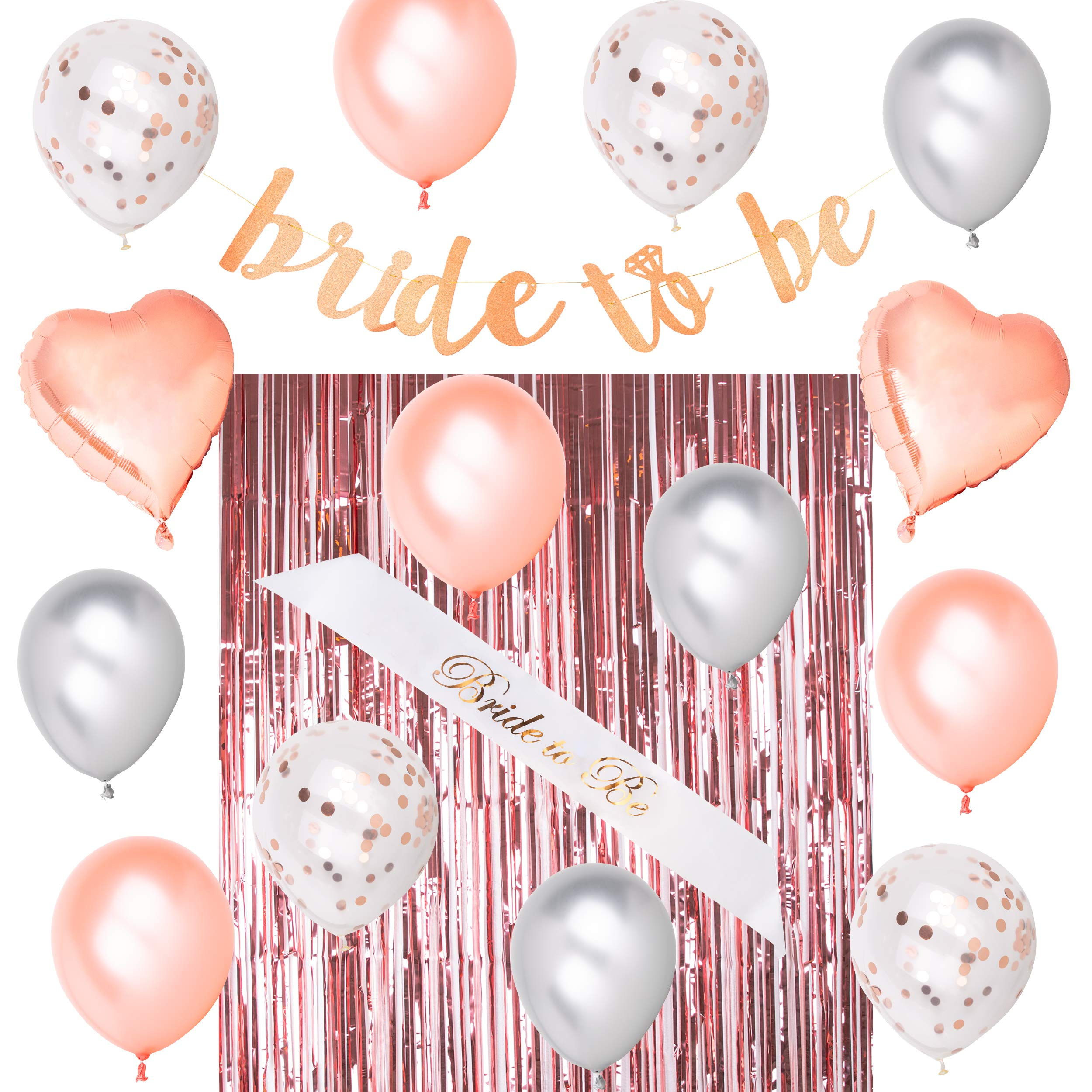 Royal Memories Bridal Shower Decorations - Bachelorette Party Decorations - Bride to Be Sash, Metallic Rose Gold Foil Fringe Curtain, Rose Gold Glitter Bride to Be Banner, 14 Beautiful Balloons by Royal Memories