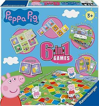 Ravensburger Peppa Pig - Juego 6 en 1 para niños y familias de 3 años en adelante, Incluye 6 Juegos clásicos: Bingo, Memoria, dominóes, Serpientes y escaleras, Damas y Cartas de Juego: