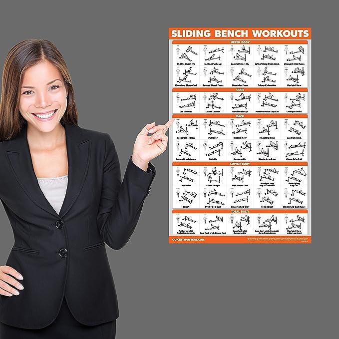 QuickFit póster de Ejercicio con Banco Deslizante – Compatible con el Gimnasio Total, Weider Ultimate Body Works – Incline Bench Ejercicio Gráfico