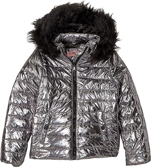 eadf3dd03 Urban Republic Kids Womens Lana Metallic Foil Puffer Jacket w/Colored Faux  Fur (Little Kids/Big Kids)