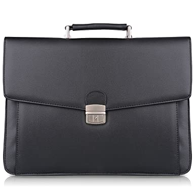 S-ZONE Mens Microfiber Leather Flapover Briefcase Messenger Bag fit 14 inch Laptop Bag