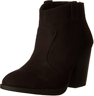 123f9d274844e SODA Women's Albert Faux Suede Cowboy Pull-Tab Stacked Heels Ankle Booties,  Black,