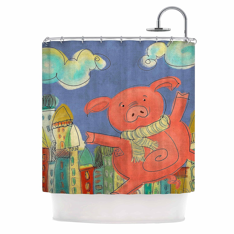 69 x 70 Shower Curtain Kess InHouse Carina Povarchik Happy Urban Pig Pink Blue