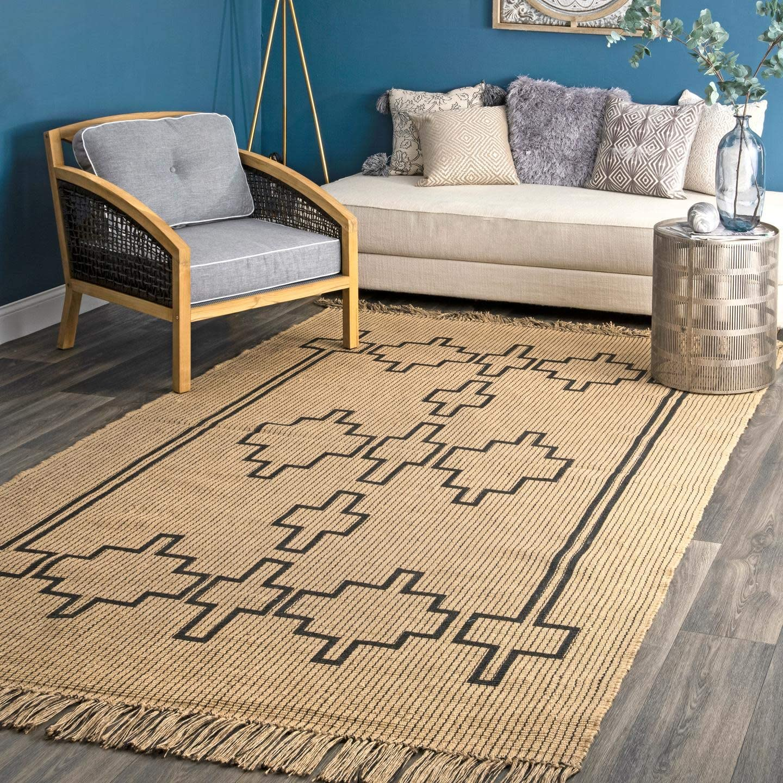 Nuloom Senabu Geometric Jute Area Rug 5 X 8 Natural Furniture Decor