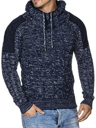 TAZZIO Herren Styler Grobstrick-Pullover mit Kapuze u Melange Muster 16483  Darkblue S