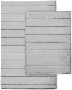 MICRODRY Ultra Absorbent CoreTex Memory Foam Bath Mat with GripTex Skid-Resistant Base (2-Piece Set, Chrome)