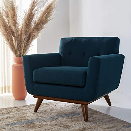 Amazon Com Safavieh Couture Home Opal Mid Century Dark Teal Linen Tufted Arm Chair Furniture Decor