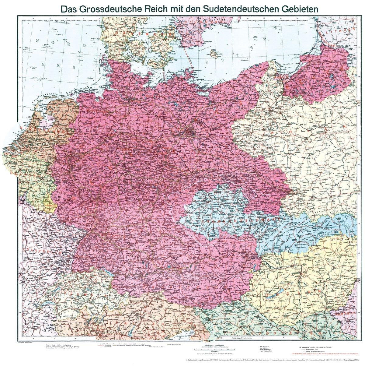 Historische Karte Deutschland 1938 Das Grossdeutsche Reich Mit