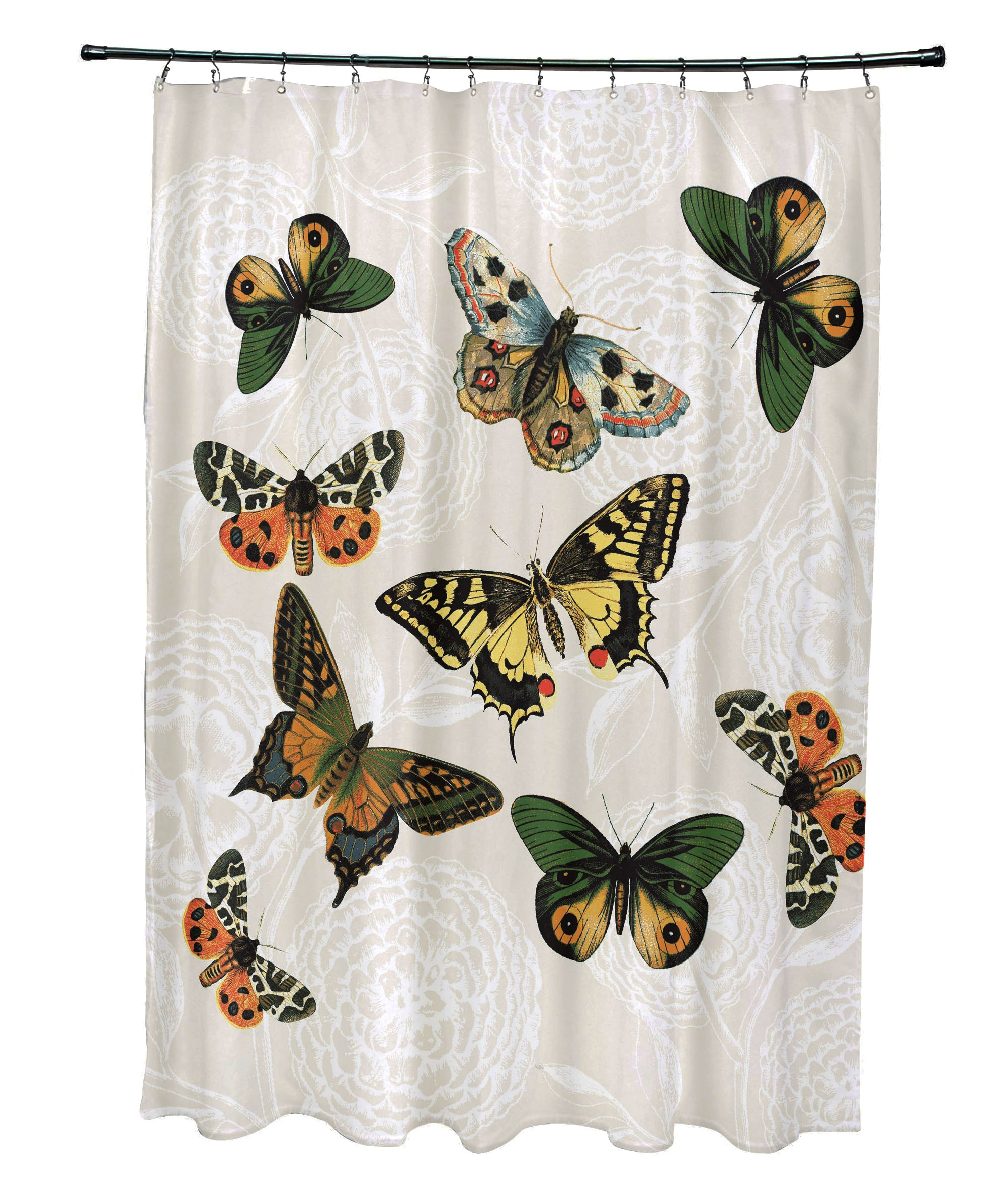 E by design 71 x 74'', Antique Butterflies and Flowers, Animal Print Shower Curtain, Cream