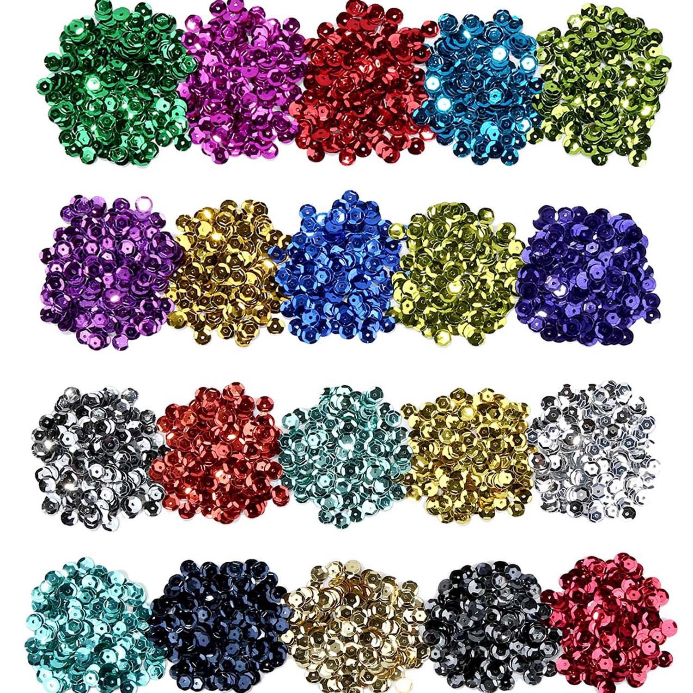 Lentejuelas Sueltas Lentejuelas de Taza a Granel entejuelas Iridiscentes para Manualidades Artes Artesanías, 6 mm, 100 Gramos (20 Colores) Shappy