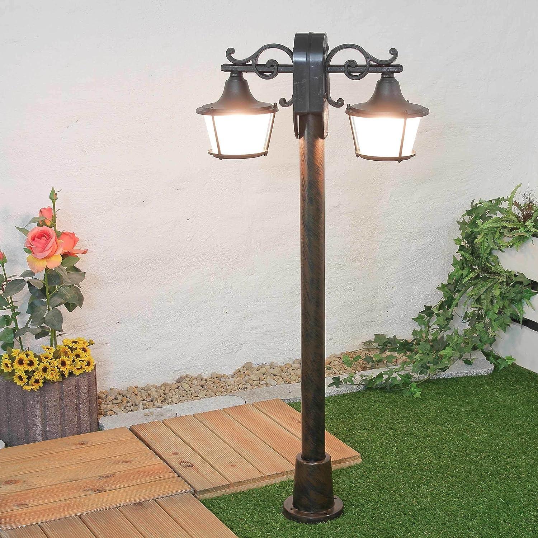 Stehlampe Aussen Schwarz 2 Flammig H 122cm Glasschirm Rustikal