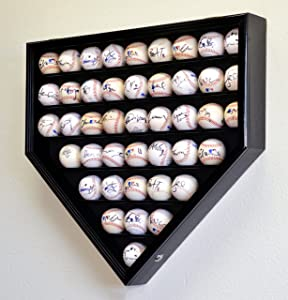 43 Baseball Ball Display Case Cabinet Holder Rack Home Plate Shaped w/98% UV Protection- Lockable –Black
