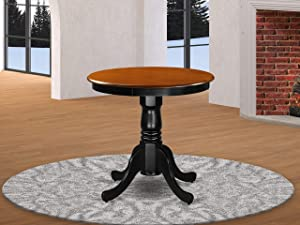 East West Furniture Edan Dining Room Table - Cherry Table Top Surface and Black Finish legs Solid Wood Frame Wood Dining Table