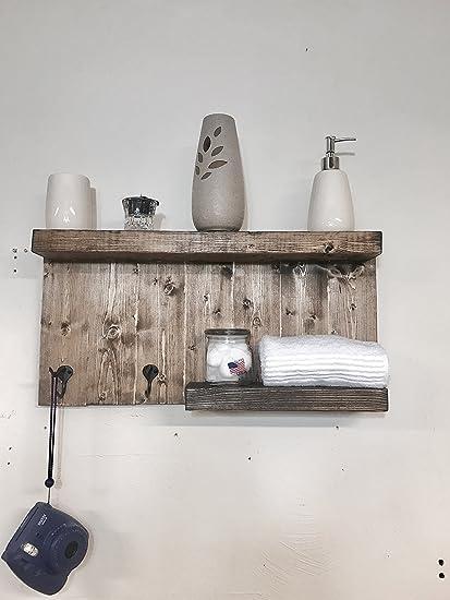 Toalla de baño soporte de pared estantería de madera envejecido con 2 rústico ganchos – nogal