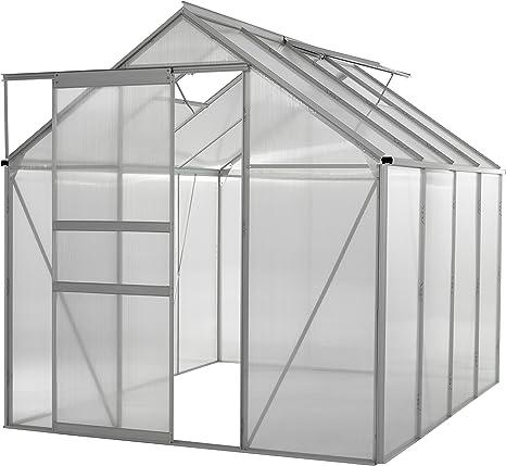 Invernadero de Policarbonato Transparente para Jardín - Marco de aluminio Resistente - 6 x 8 pies: Amazon.es: Deportes y aire libre