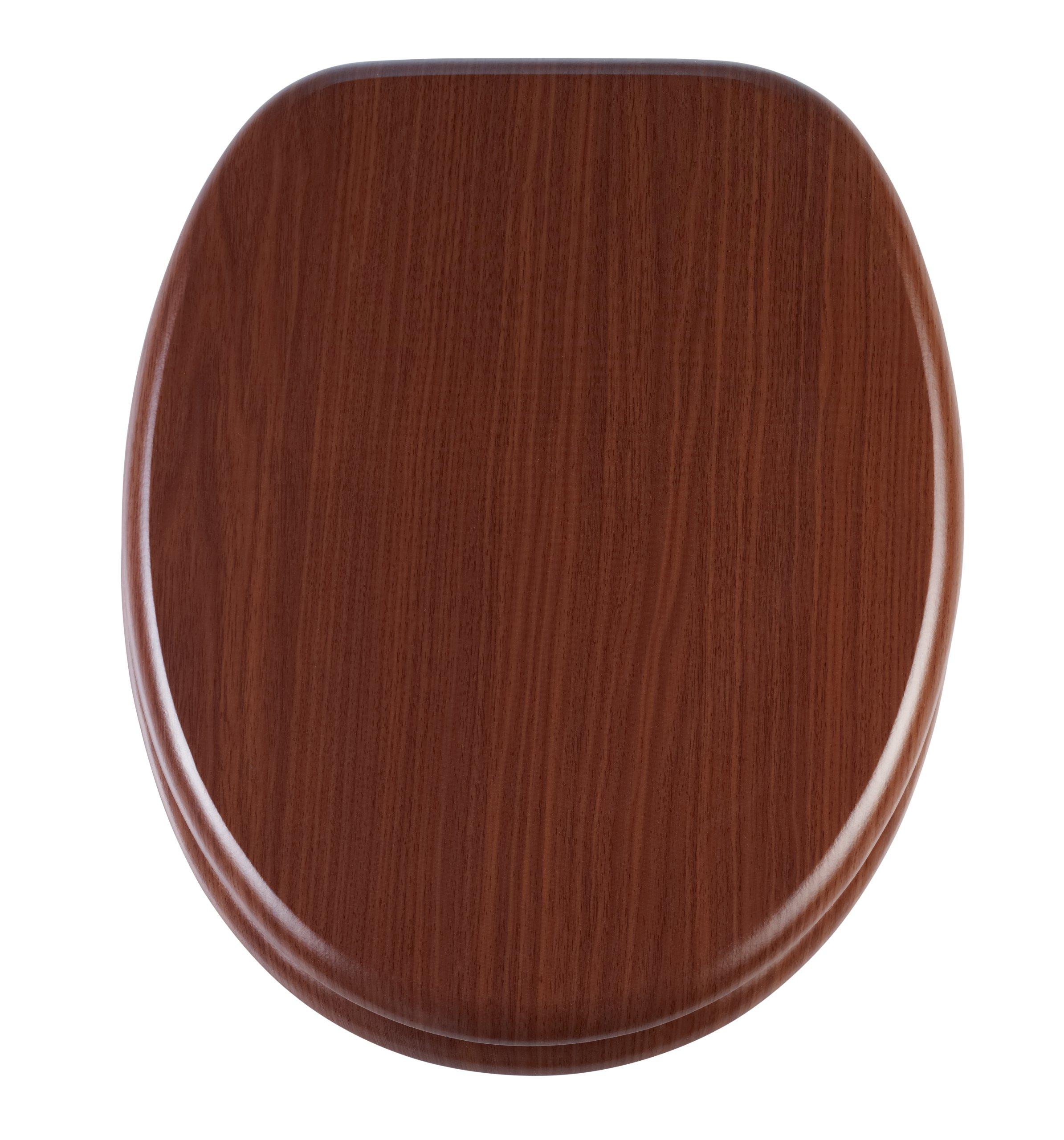 Diaqua Forest 32136197 Toilet Seat Walnut Brown 100 % FSC MDF 42 - 46.5 x 37.1 cm Slow Motion Closing System by Diaqua