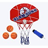 "Slam Dunk Mini Basketball Hoop Set - Over the Door Plastic Toy Backboard 14 X 10"" w/ Net, 3 Balls & Ball Pump. Simple Assembly, Easy Clip-on Mount Game For Kids Children or Adults by Kipi Toys"
