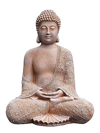 Tiefes Kunsthandwerk Stein-Figur Buddha sitzend in Terrakotta ...