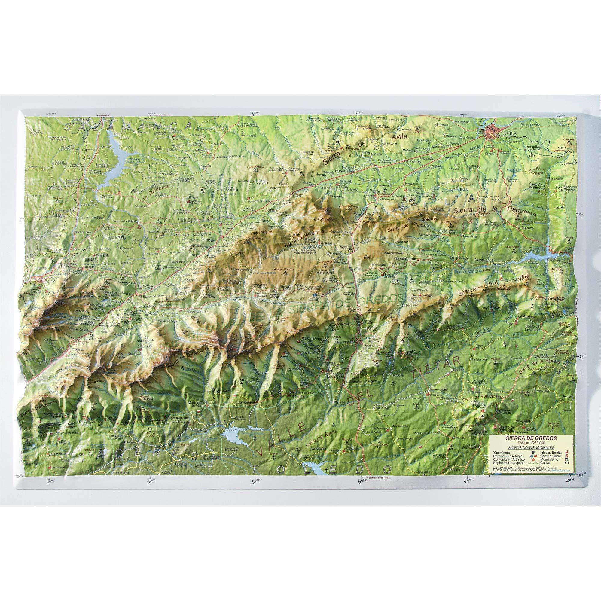 Mapa en relieve Sierra de Gredos: Escala 1:250.000: Amazon.es: All 3D Form S.L.: Libros