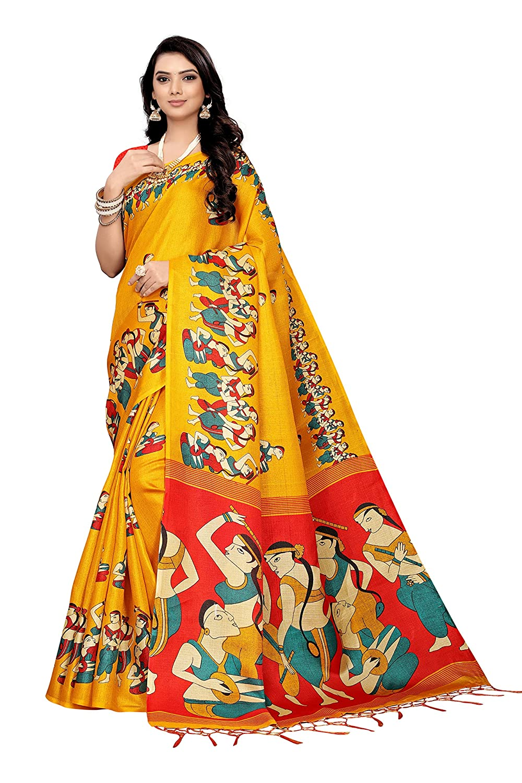 Buy Gosriki Silk With Blouse Piece Saree Marathi Dandiya Yellow Free Size At Amazon In