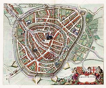 MAP 1649 BLAEU AMERSFOORT CITY PLAN LARGE REPLICA POSTER PRINT