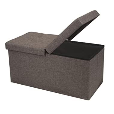 Otto & Ben 30  Storage Ottoman - Folding Toy Box Chest with SMART LIFT Top, Linen Fabric Ottomans Bench Foot Rest for Bedroom, Brown