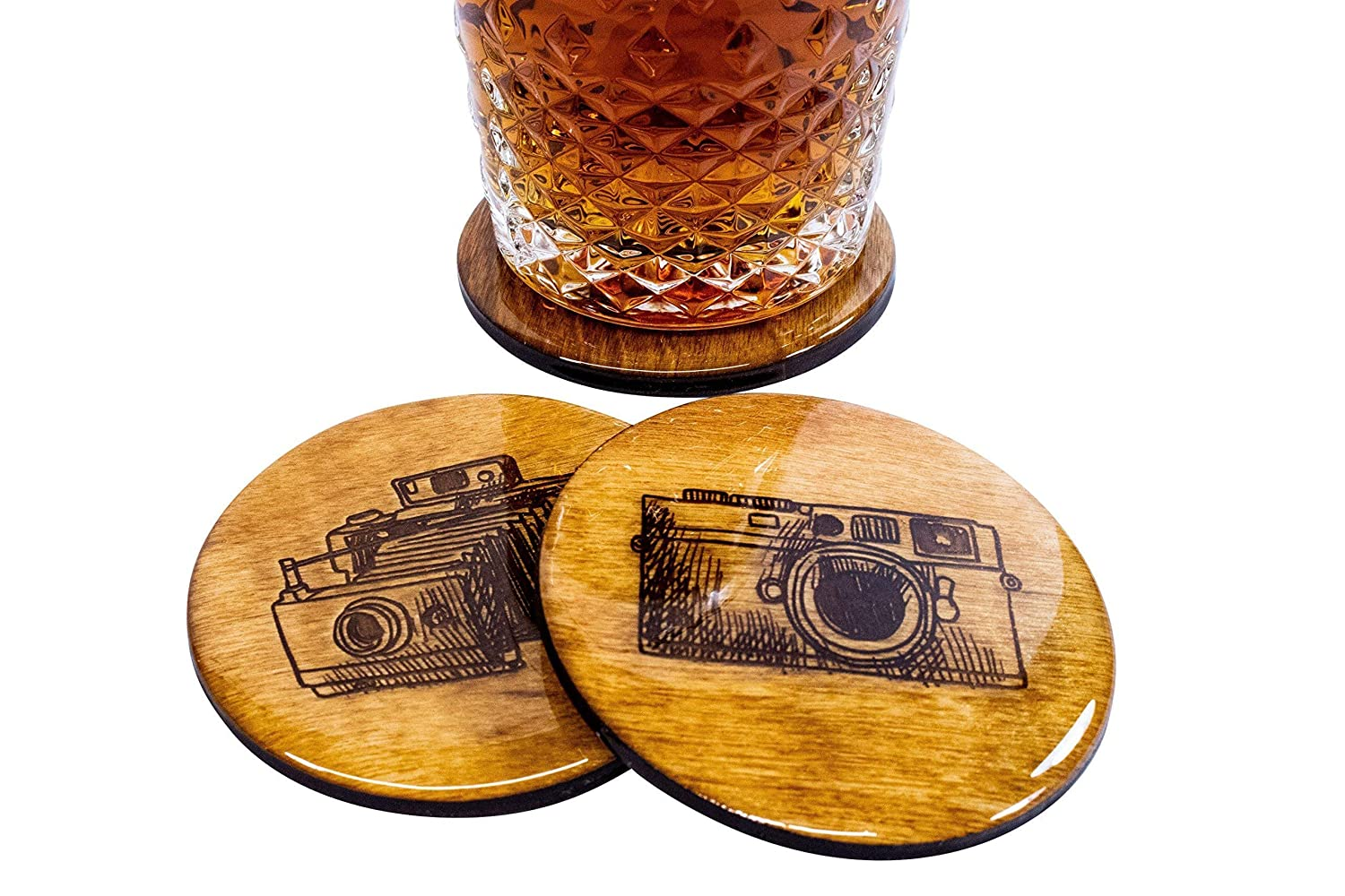 Premium Photography Coasters 8 Handmade 3.5 Round Wooden High Gloss Vintage Camera Hand Drawn