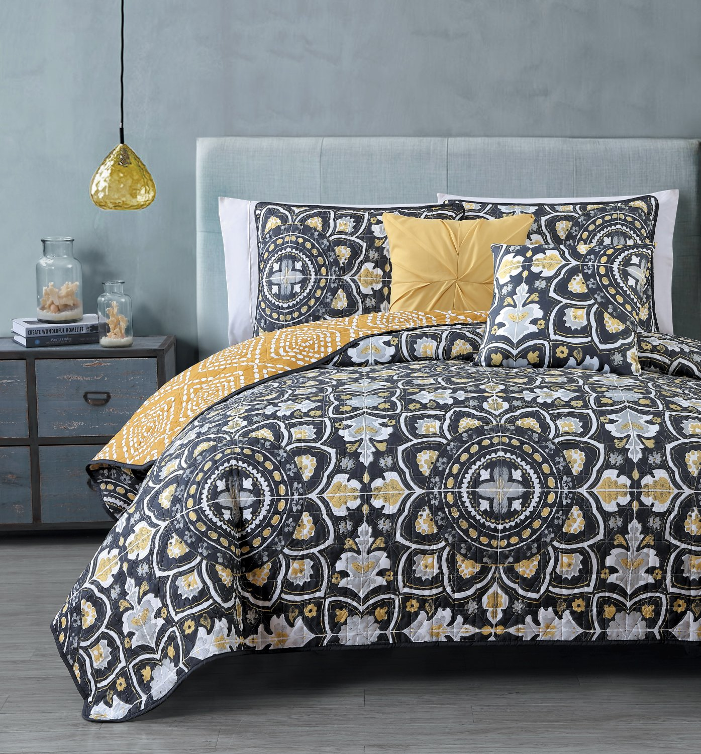 Amazon Geneva Home Fashion 5 Piece Ibiza Quilt Set King Grey