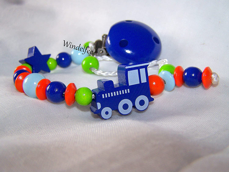 Cadena para chupete con nombres, locomotora, Tren, estrella ...