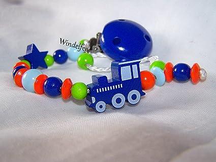 Cadena para chupete con nombres, locomotora, Tren, estrella, regalo ...