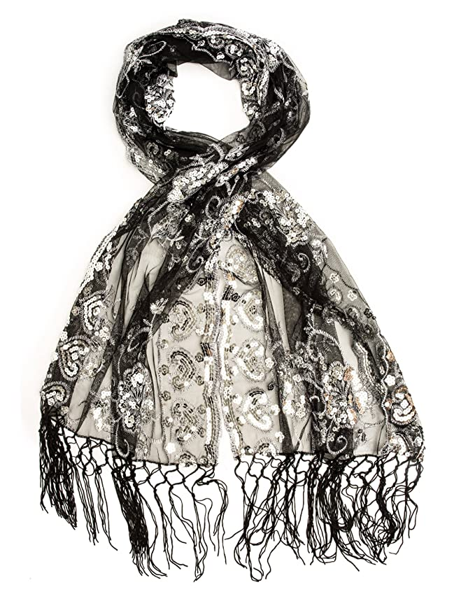 1920s Style Shawls, Wraps, Scarves  Long Fringe Sequin Evening Wrap $18.95 AT vintagedancer.com